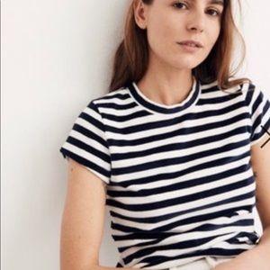 Madewell velvet striped crew neck T-shirt